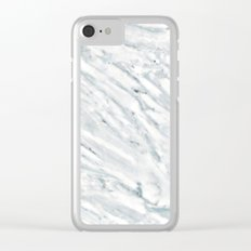 Marble Pattern - Swirly White and Blue Marble Clear iPhone Case