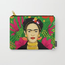 Frida Flower Kalho Art Print by Cindy Rose Studio Carry-All Pouch