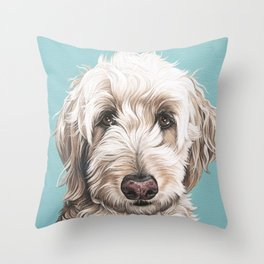 Sweet and Soulful Labradoodle Painting, Labradoodle Artwork, Portrait of a Champagne Labradoodle Throw Pillow