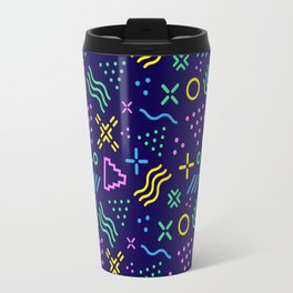 Retro 80s Shapes Pattern Travel Mug