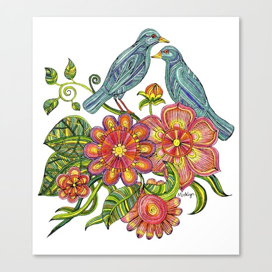 Fly Away With Me - Hand drawn illustration with birds, flowers and leaves. Canvas Print