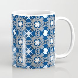 Blue white and grey square floral Coffee Mug