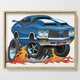Classic Seventies American Muscle Car Hot Rod Cartoon Illustration Serving Tray