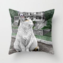 Mackinac Island Cat Throw Pillow