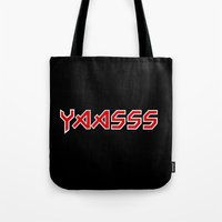 iron maiden Tote Bags featuring Yaasss Iron Maiden Metal Typography Print by RexLambo