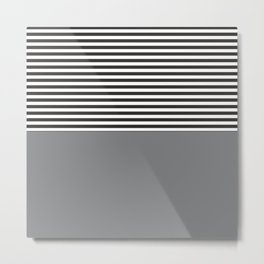 Gray Half Striped Metal Print