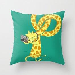 A Giraffe Photographer Throw Pillow
