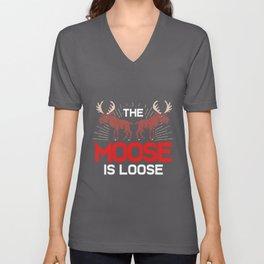 Moose Loose Funny Deer Reindeer Elk Stag Antler Unisex V-Neck