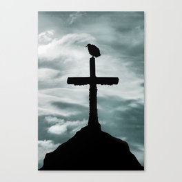 Bird at Top of Cross Church Graphic Silhouette Canvas Print