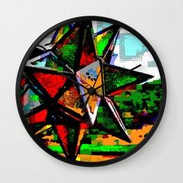 Glass Star & Vineyard Retro CGI Pixelart Wall Clock