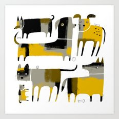 PATCHWORK DOGS Art Print