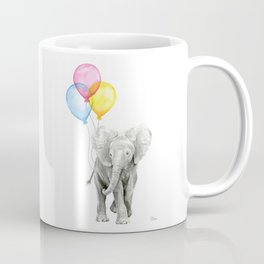 Baby Elephant with Balloons Nursery Animals Prints Whimsical Animal Coffee Mug
