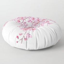 pink cherry blossom watercolor 2020 Floor Pillow