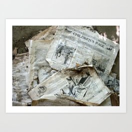 Old Newspaper Left to the Elements...Children's Page Art Print