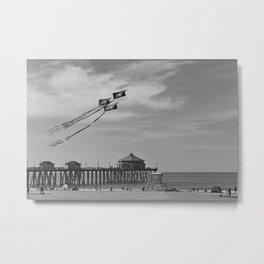 Flying Kites At The Huntington Beach Pier Metal Print