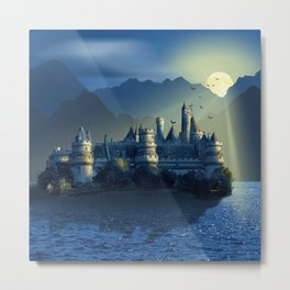 Fairy Castle In Mystic Blue Metal Print