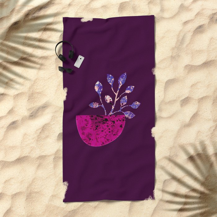 pot and branch on purple Beach Towel