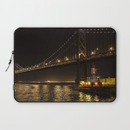 Bay Bridge Fire Boat at Night Laptop Sleeve