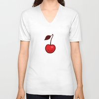 cherry V-neck T-shirts featuring Cherry by René Barth