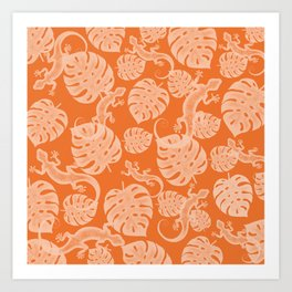 Tropical exotic monstera philodendron leaves and lizards distressed moody sunny lovely orange design. Gift ideas for nature, animal and plant lovers. Botanical pattern. Art Print