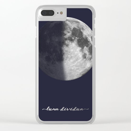 First Quarter Moon on Navy Latin Clear iPhone Case