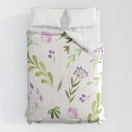 Purple Flower Field Comforters