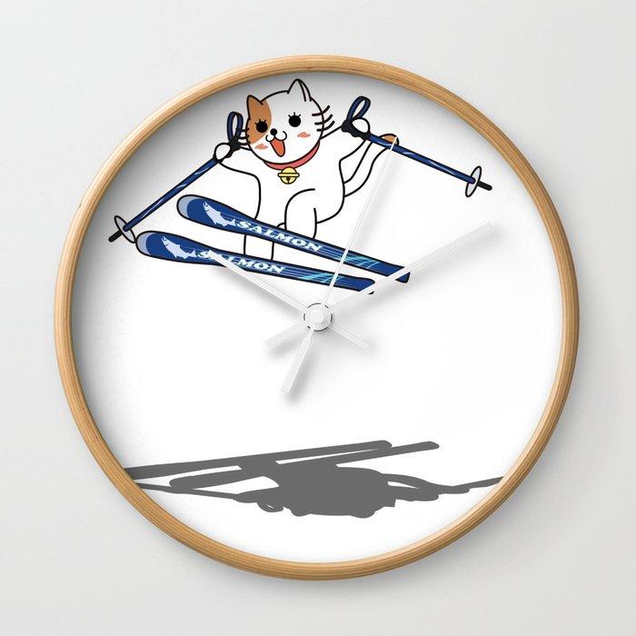 SKIER of CAT Wall Clock