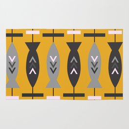 Aztec pattern with fish- ochre Rug