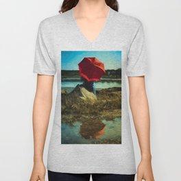 Girl with Red Umbrella Unisex V-Neck