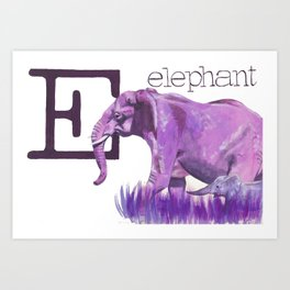 E is for Elephant Art Print