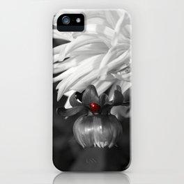 Ladybug on a Dahlia Bud-B&W with red ladybug iPhone Case