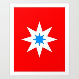 Vibrant Star On Red Art Print