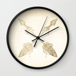 Tribal Arrows Gold on Paper Wall Clock
