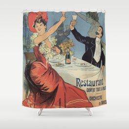 French Paris Restaurant advert by Chéret 1899 Shower Curtain