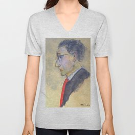 sketch of a man with red tie Unisex V-Neck