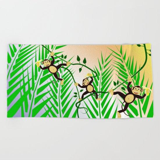 Funny Monkeys Beach Towel