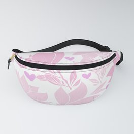 Whimsical Pink Magnolia And Hearts Fanny Pack