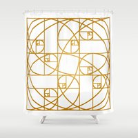 fibonacci Shower Curtains featuring Golden Ropes by Melek Design