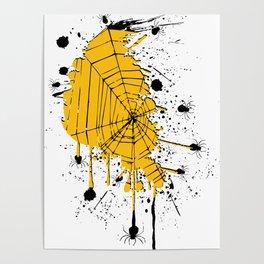 Spiderweb spiders ink splash Poster