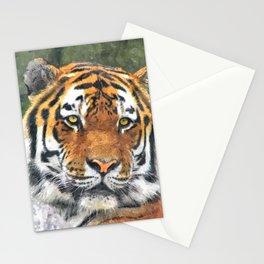 Water color digital illustration of Amur Tiger Stationery Cards