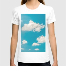 Deep Blue Summer Sky, White Clouds On Turquoise Sky, Heaven Scenery, Wall Art, Poster Decor T-shirt