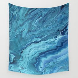 Teal Geode: Acrylic Pour Painting Wall Tapestry