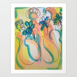 Goddesses with Flowers Art Print