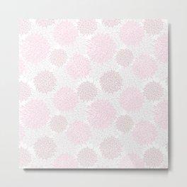 Blush pink brown modern pastel color floral pattern Metal Print