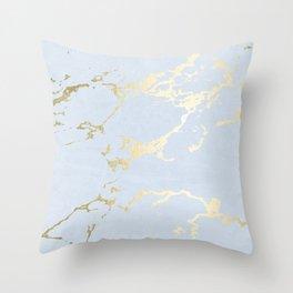 Kintsugi Ceramic Gold on Sky Blue Throw Pillow