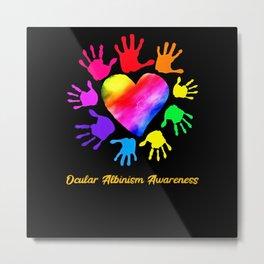 We Wear Rainbow Heart For Ocular Albinism Metal Print