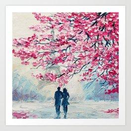 Romantic Couple under an umbrella. Eiffel Tower, Paris, France. Oil painting on canvas, modern illustration art Art Print