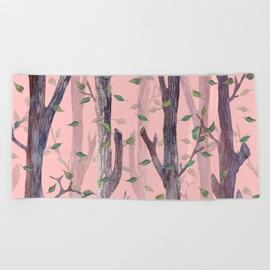 Forest Pink Beach Towel