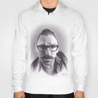 robert farkas Hoodies featuring Realism Charcoal Drawing of Artist Damon Lucas Farkas by Brittni DeWeese