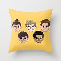 animal crossing Throw Pillows featuring Animal Crossing One Direction by Pinkeyyou